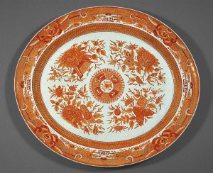 Orange fitzhugh large dish, Chinese export porcelain