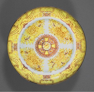 Yellow Fitzhugh plate, Chinese export porcelain