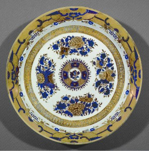 Blue enamel and gilt Fitzhugh plate, Chinese export porcelain