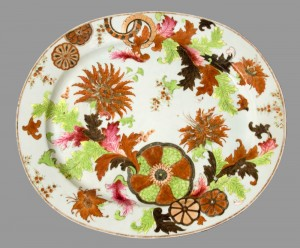 Pseudo tobacco leaf pattern dish, Chinese export porcelain