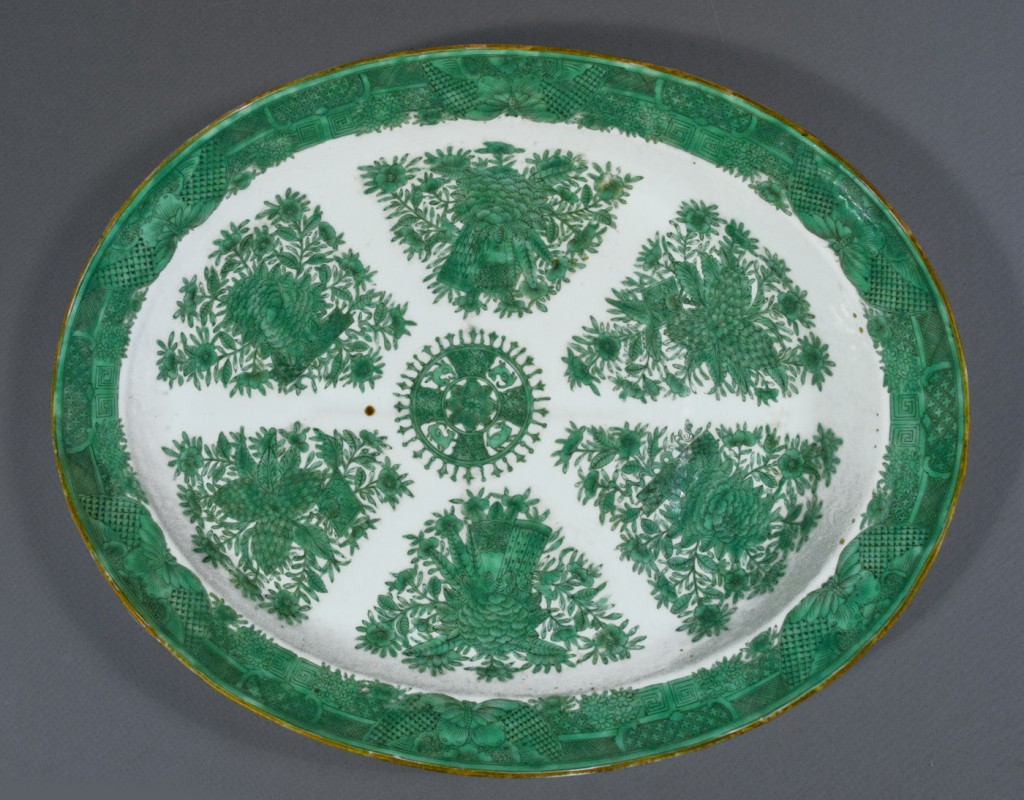 "Green Fitzhugh ""tree and cup"" meat platter, Chinese export porcelain"