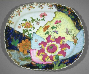 Tobacco leaf pattern dish, Chinese export porcelain
