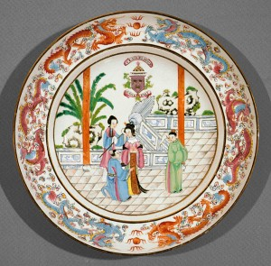 Soup plate bearing arms of Grant of that Ilk, Chinese export porcelain