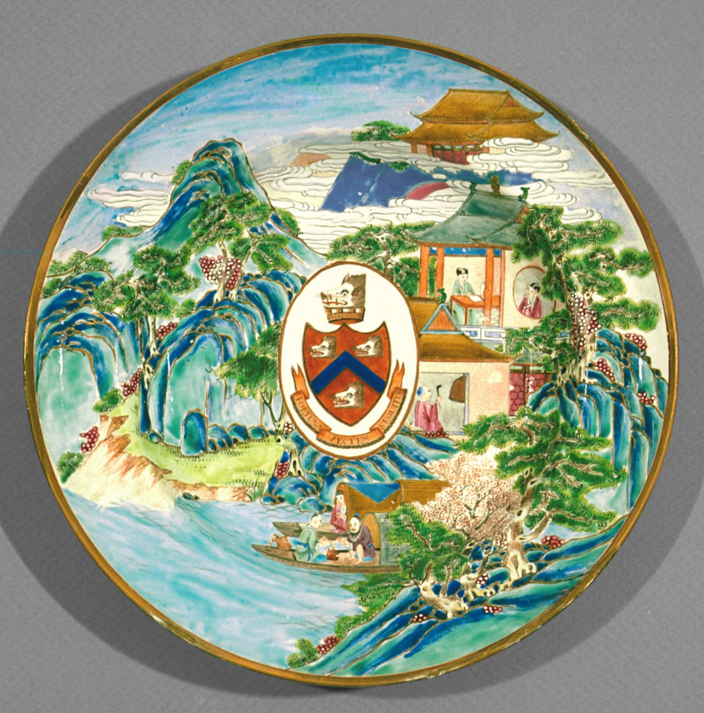 Soup plate bearing arms of Wight, Chinese export porcelain