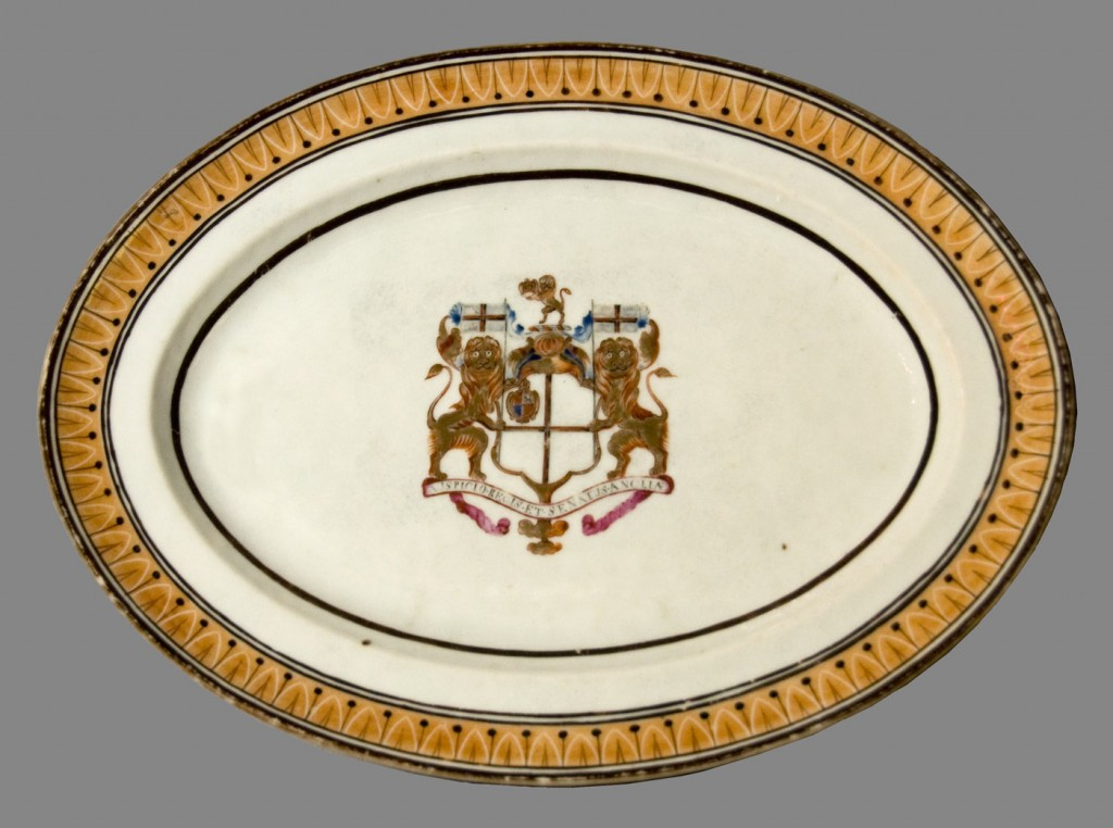 Honourable East India Co. arms dish, Chinese export porcelain
