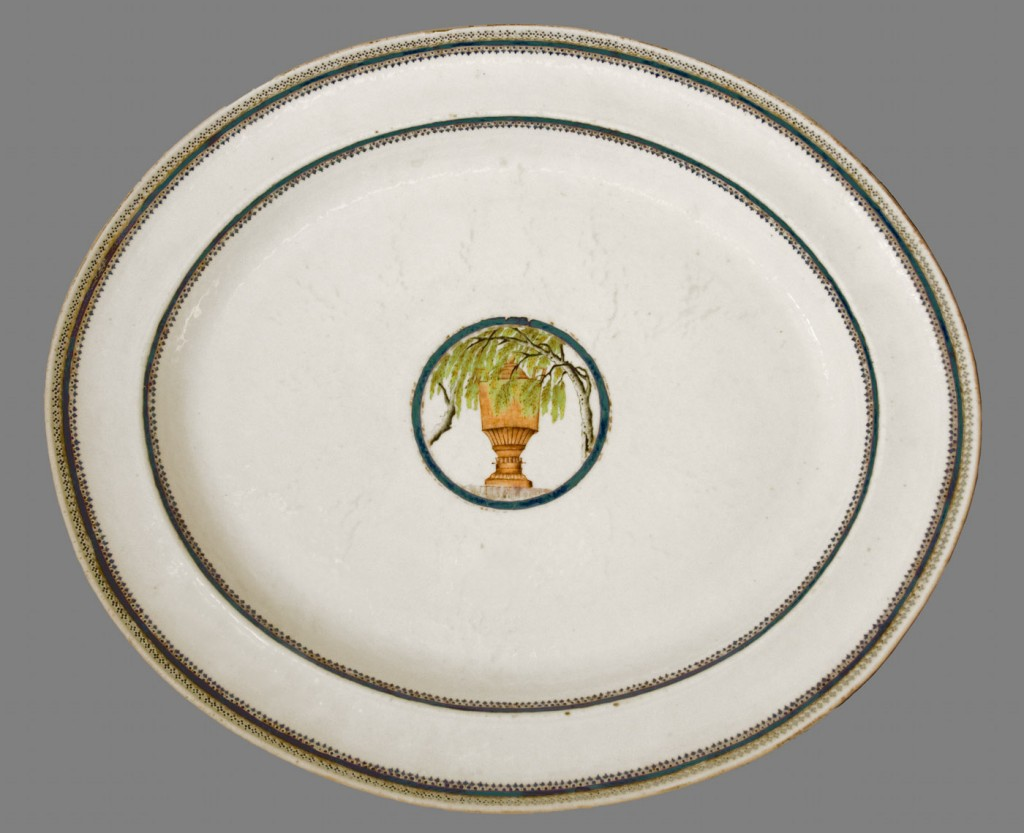 L'Urne Mysterieuse dish, Chinese export porcelain