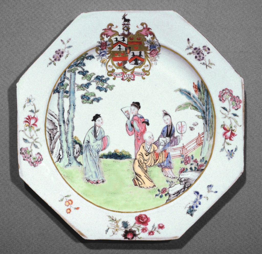 Boynton quartering Topham plate, Chinese export porcelain